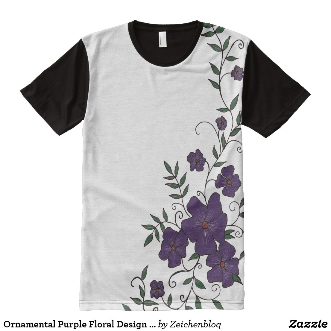 Ornamental Purple Floral Design T Shirt Zeichenbloq Zazzle