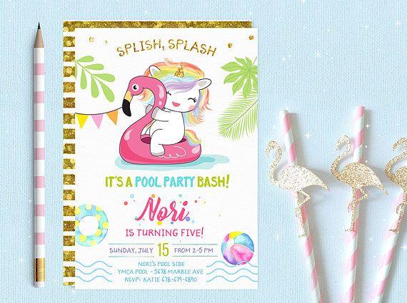 Unicorn Pool Party Invitation Pool Party Birthday Invitation