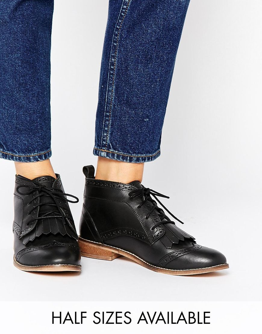 Image 1 of ASOS ABERY Brogue Lace Up Leather Ankle Boots