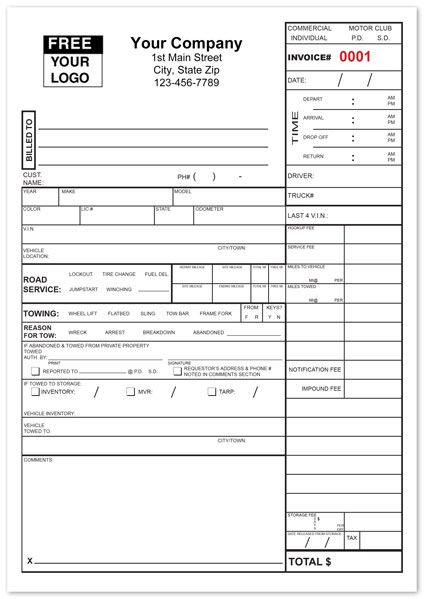 Tow Service Invoice Form | Towing company and Job description