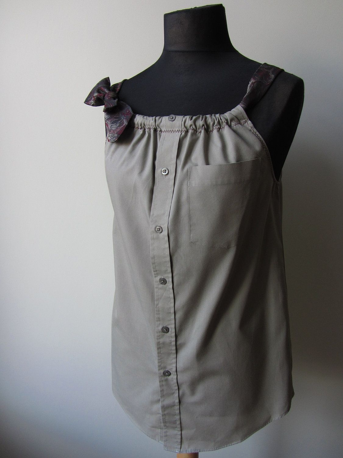 Upcycled Clothing - Boyfriend Tank Top in Dark Beige with Two Changeable Necktie Shoulder Straps