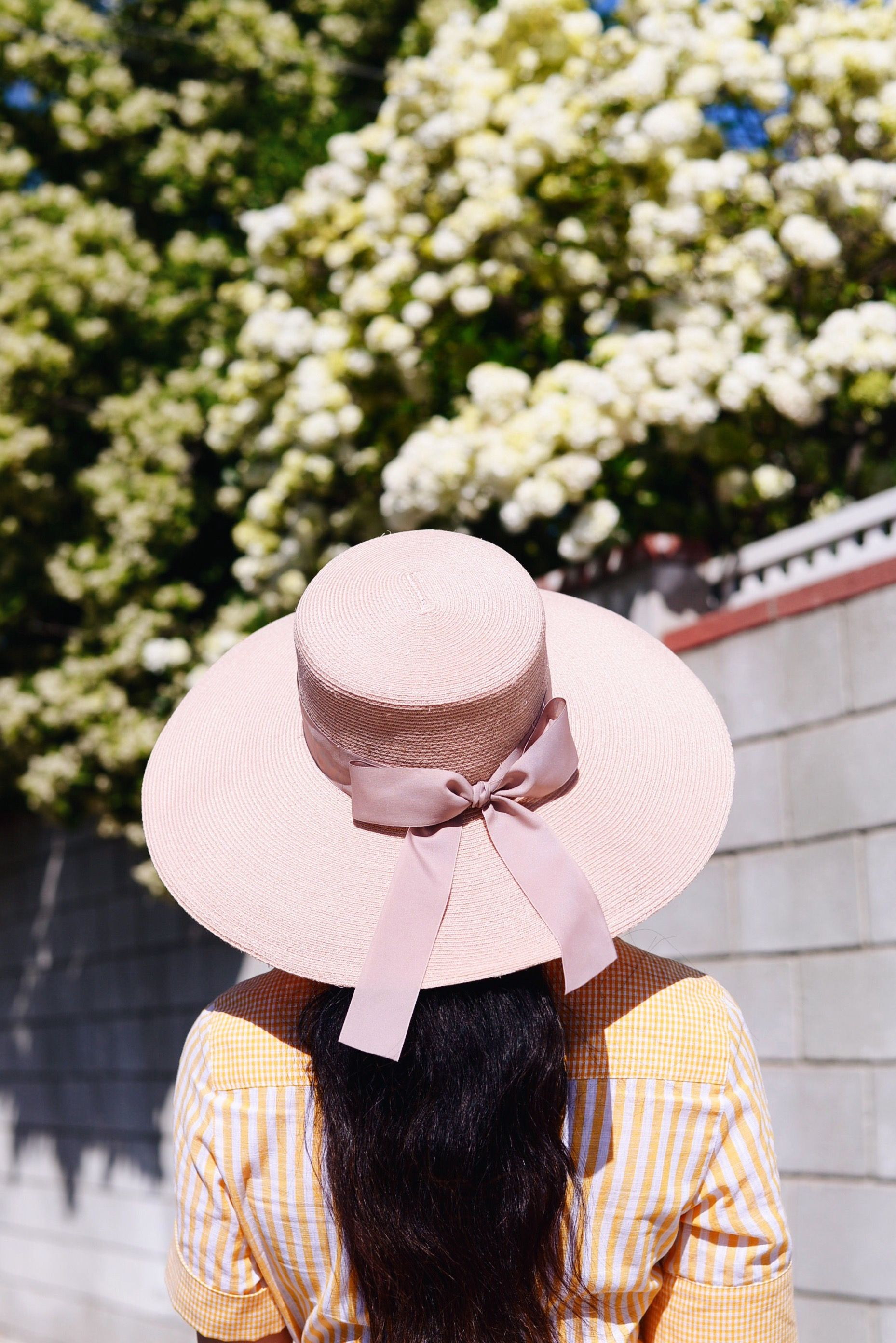 HallieDaily, Style, Street Style, Weekend Style, Outfit, Sister Style, Gül Hürgel, Cotton, Maxi, Shirt Dress, Eugenia Kim Hat, Pink Hat with Bow, Nannacay Baby Pom Pom Bag, Stuart Weitzman Wedges Sandals, Le Specs Heart Shape Sunglasses