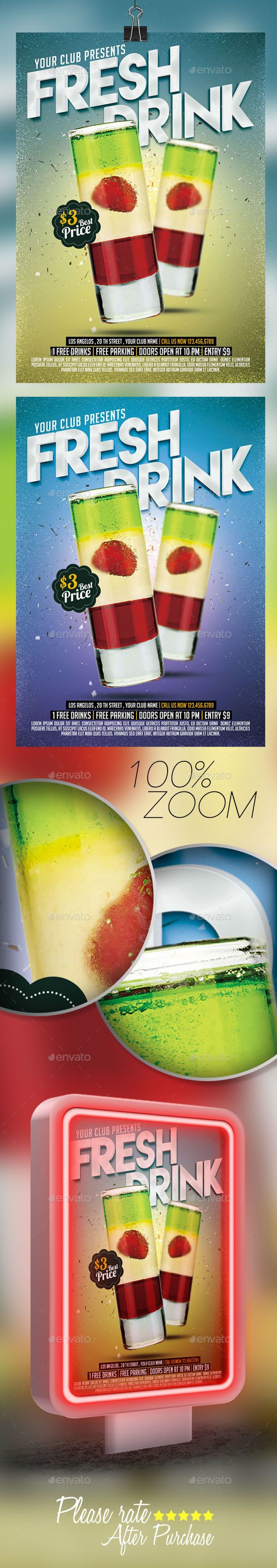 Fresh Drink Flyer   PSD Template • Download ➝ https://graphicriver.net/item/fresh-drink-flyer-template-/17119994?ref=pxcr
