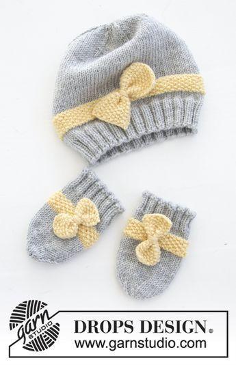 Photo of Little Miss Ribbon Fäustlinge DROPS Neugeborenes 31 11 kostenloses Strickmuster von DROPS Plan