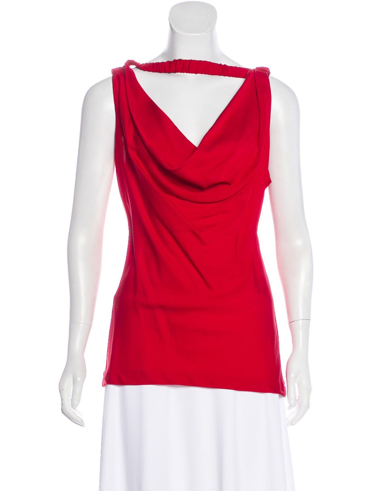 161d31e81de1bc Red Robert Rodriguez silk sleeveless top with cowl neckline and elasticized  shoulder straps.