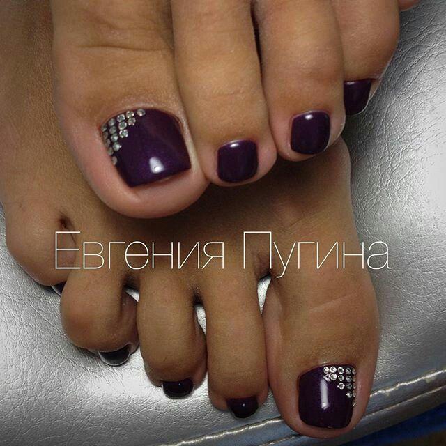 Dark Purple Toe Nailart Purple Toe Nails Toe Nails Feet Nail Design