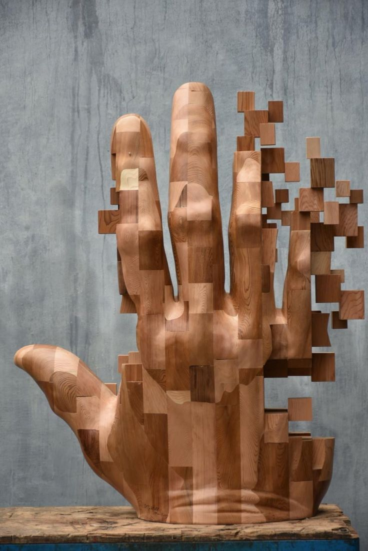 New Dynamic Pixelated Wood Sculptures from Hsu Tung Han