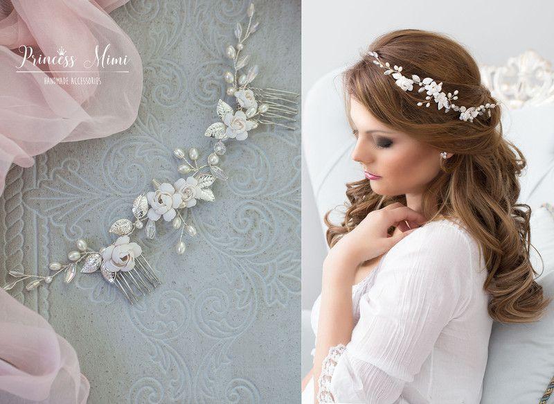 Braut haarschmuck  Braut Haarschmuck echte Perlen Hochzeit Haarkamm | Hochzeit ...