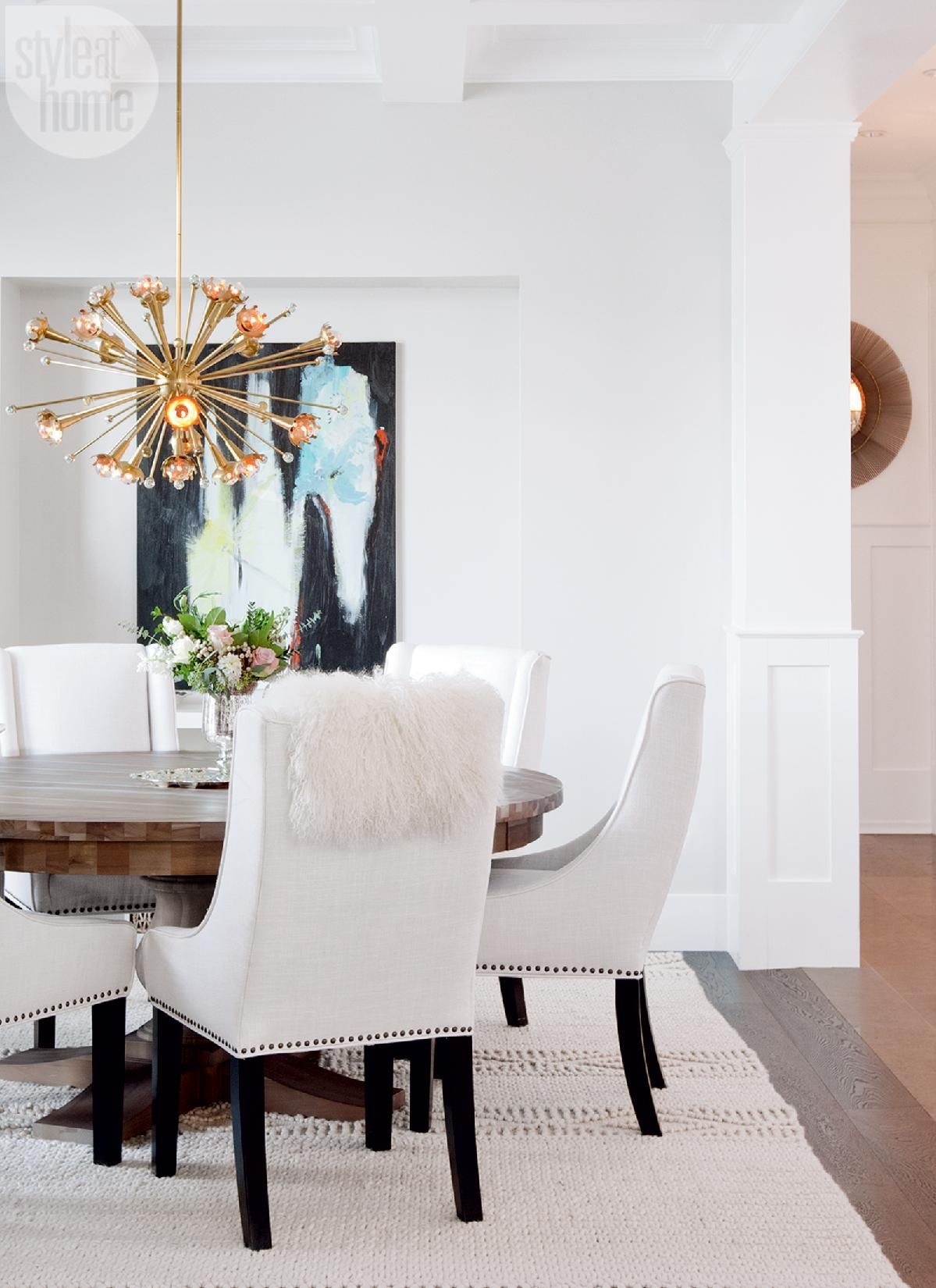 Mixing Stylesu2014In The Dining Room, Tanya Likes The Juxtaposition Of The  Modern Sputnik Inspired Chandelier With The Traditional Coffered Ceiling.