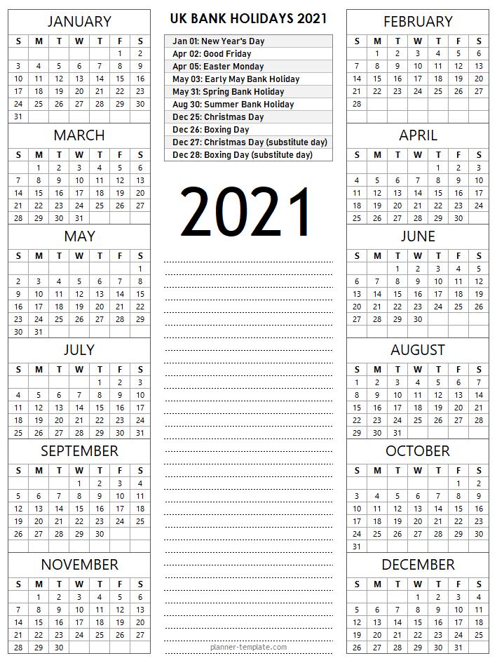 UK Holiday 2021 Calendar Template - School, Bank, Public ...