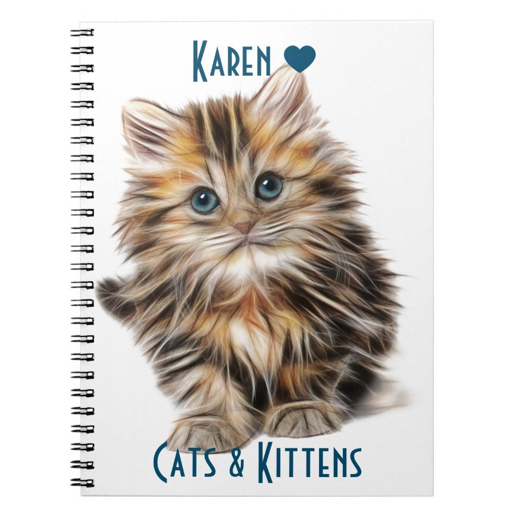 Cute Fluffy Kitten With Blue Eyes Notebook | Zazzle.com #fluffykittens