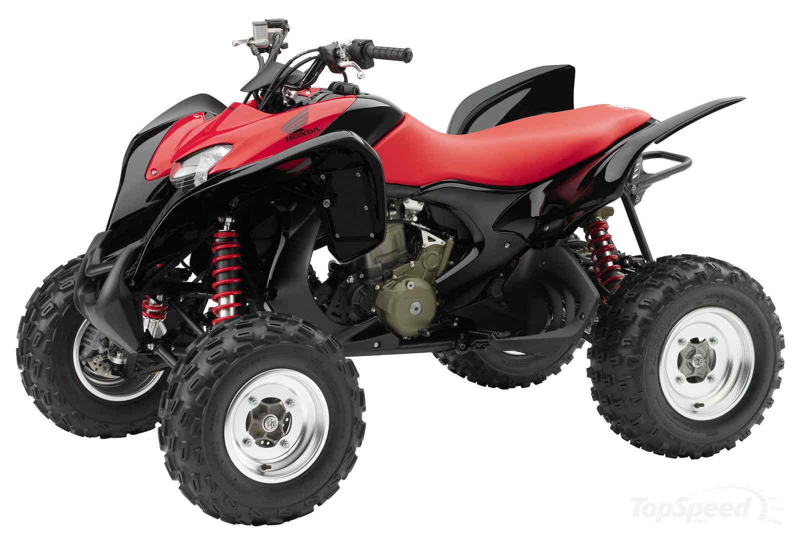 This 2009 year atv model is one of the toughest rugged and powerful sport four wheelers from honda this metallic black and red color atv is truly