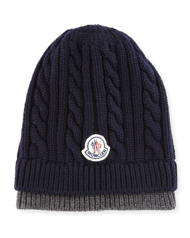 Bicolor Logo Cable-Knit Beanie Hat Tricot À Torsades, Chapeaux Pour Hommes,  Moncler ec10fdc5f60