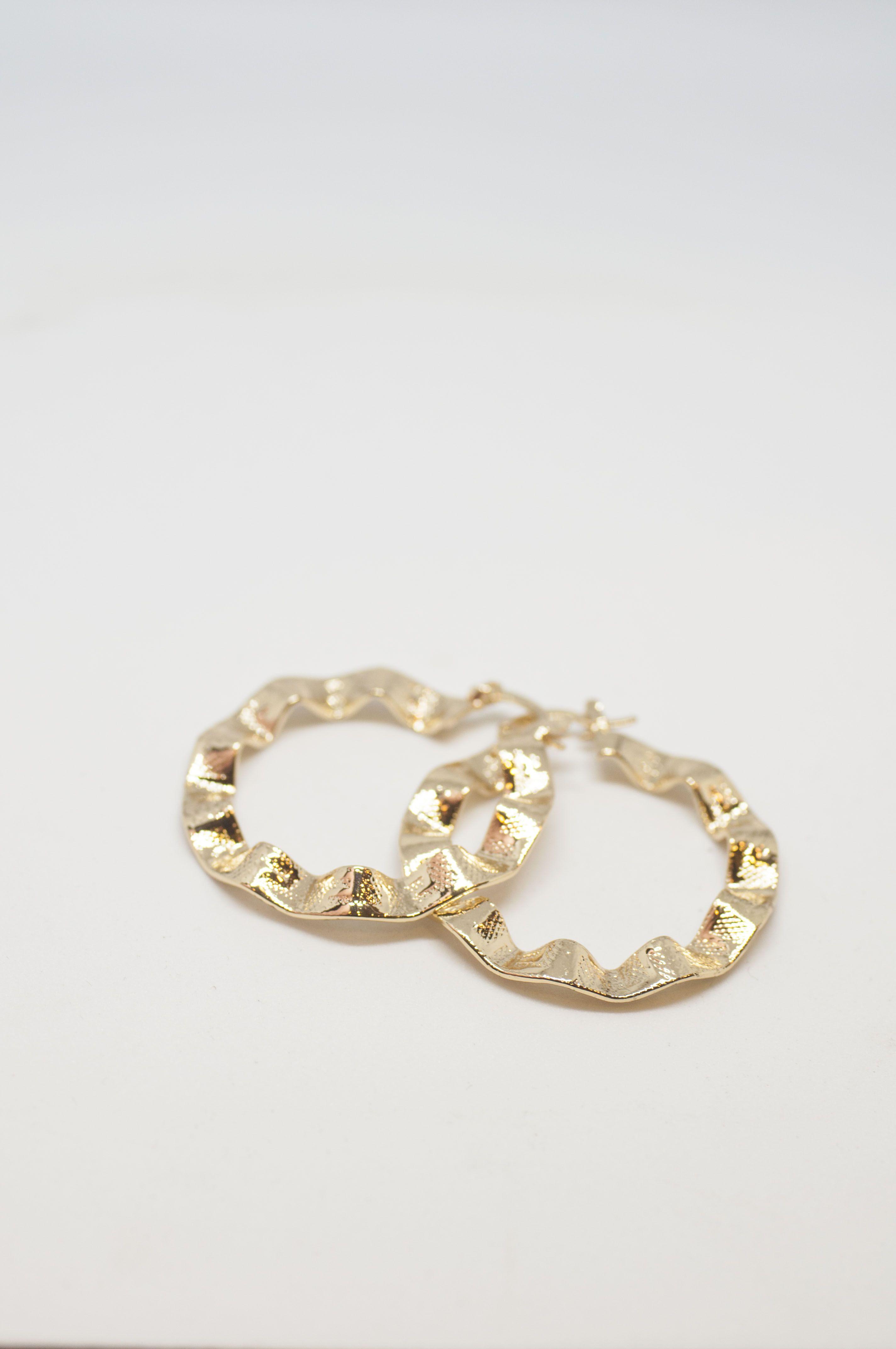Folded Gold Hoop Earrings Fashion Geometric Statement Jewelry Handmade Gift For Her Bbold