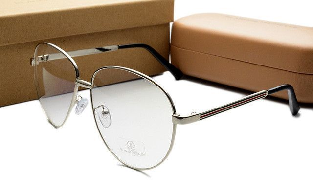 New Luxury Colorful Stripe Oversize Gold Plain Glasses Frames Metal Vintage Eye glasses Frame Women Men Fashion Eyewear With box