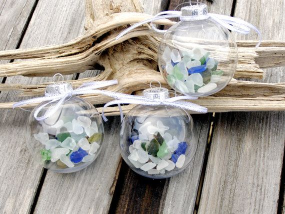 cij sea glass christmas ornaments beach decor set of three nautical ornament 2900 via etsy