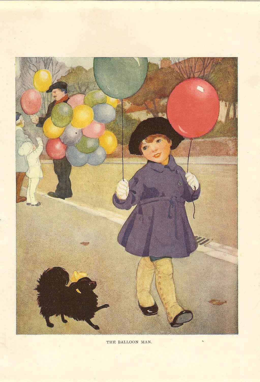 Vintage 1920s Childrens Print- Girl Wearing Purple Coat Holding ...