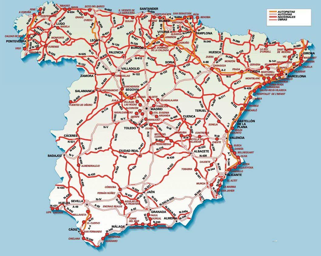 mapa de estradas espanha Mapas de Espanha mapa de estradas espanha