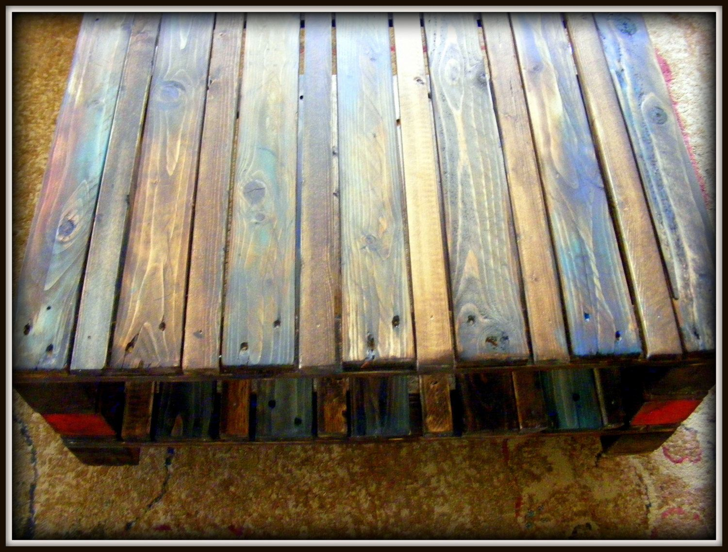 Multi Color Reclaimed Pallet Wood Table On Casters. $210.00, Via Etsy.