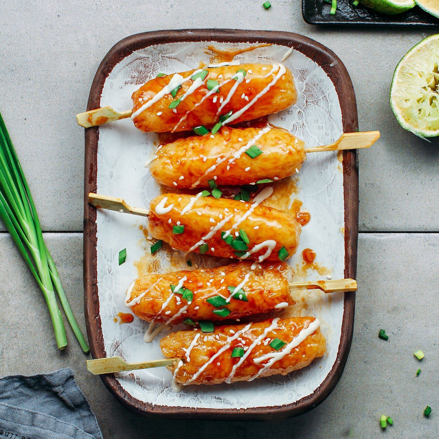 Teriyaki Sticky Rice Kebabs - Full of Plants