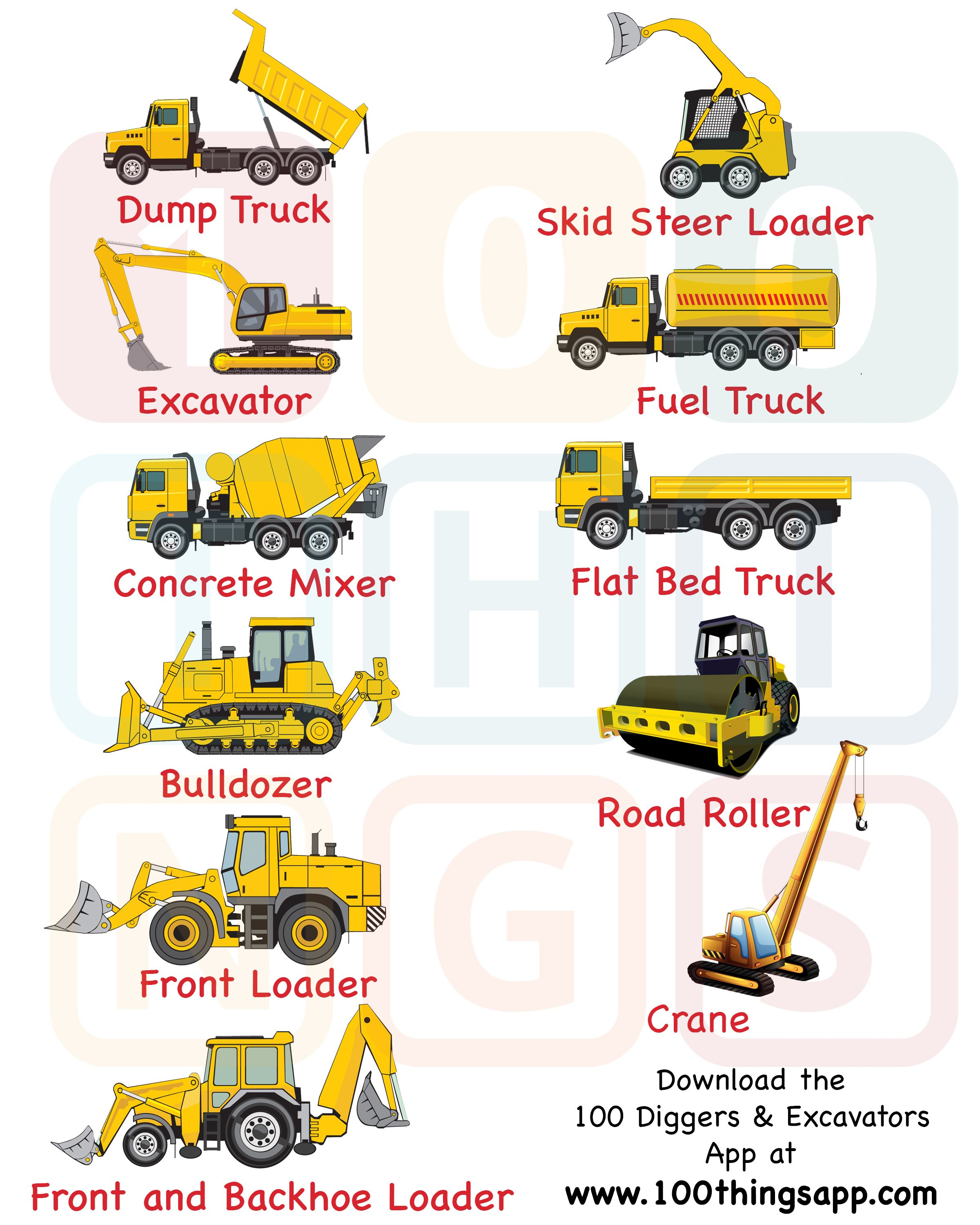 legend and list of the types of construction trucks vehicles