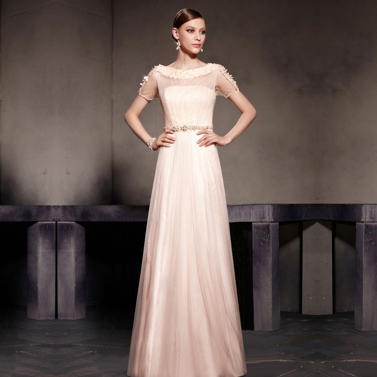 Simple Design Scoop Neck Long Sleeve Long A Line Tulle: 2014 New Noble Light Pink Boat Neck Short Sleeve