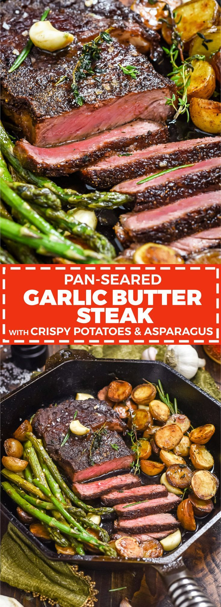 Pan-Fried Garlic Butter Steak with Crispy Potatoes and Asparagus -