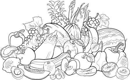Frutas Y Verduras Para Colorear Libro Ilustracion De Stock