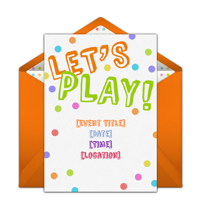 Customizable Lets Play Online Invitations Easy To Personalize And Send For A Party Punchbowl