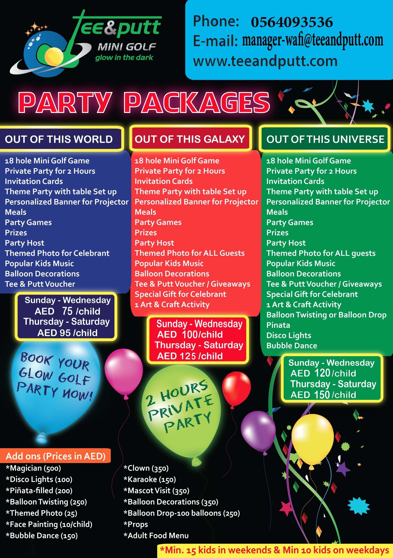 4940a0f83f Birthday Party Package  KidsParty  KidsBirthdayTheme  CustomDecoration   TeeandPutt  MinigolfDubai  GlowintheDark