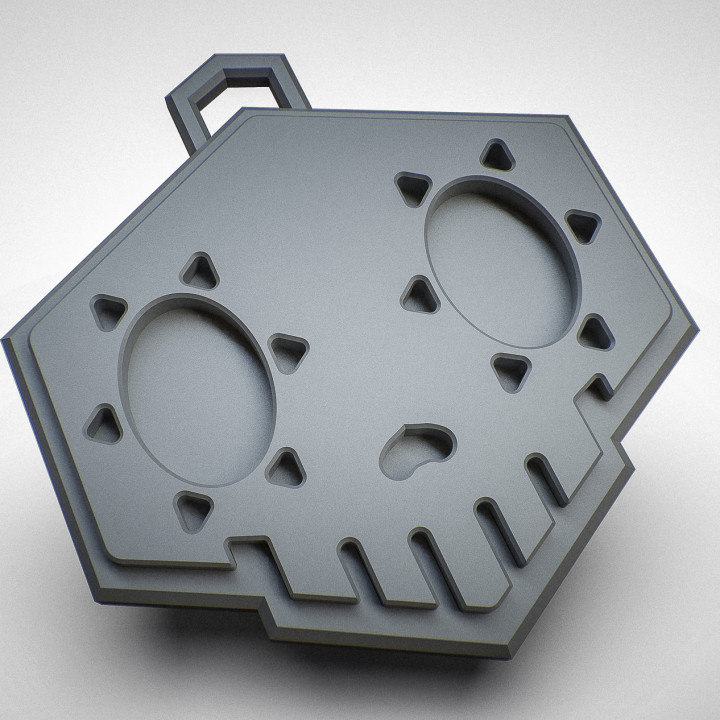 3d Printable Sombra Skull Necklace Plaque By Christiaan Lefering Sombra Skull Skull Necklace Plaque