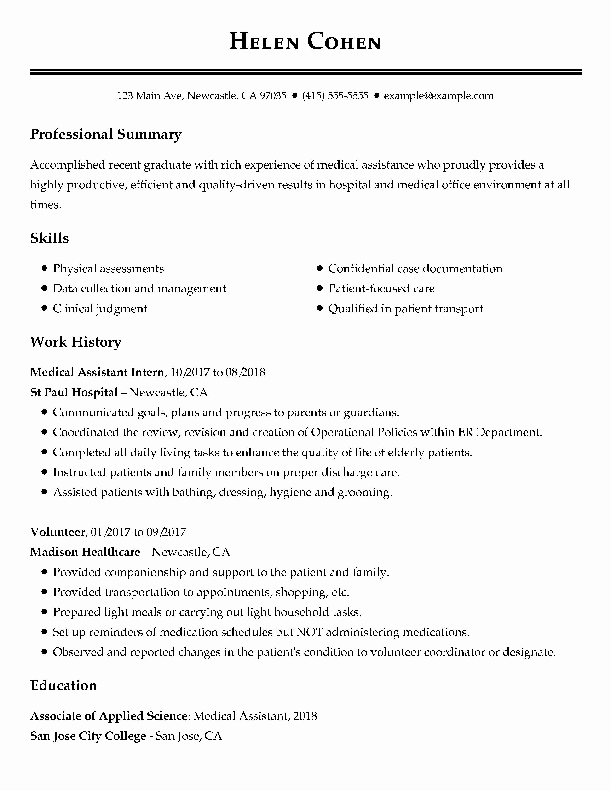 Resume Format For Job Experience