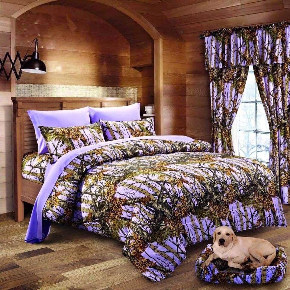 7 Pc Lavender Camo Comforter And Sheet Set Cal King