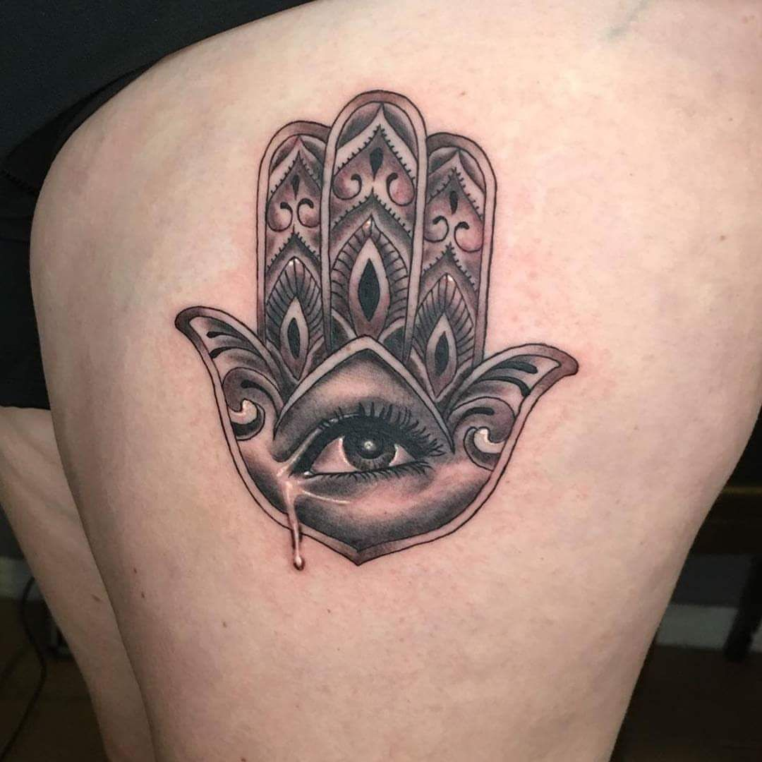 50 deeply symbolic hamsa tattoos you cant resist to get inked bless me with good luck with hamsa eye tattoo buycottarizona Images