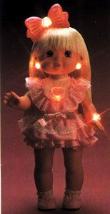 PJ Sparkles, oh how I have forgotten you! Her skirt would turn into a gown and if you pressed on her heart she would light up! #90'stoys