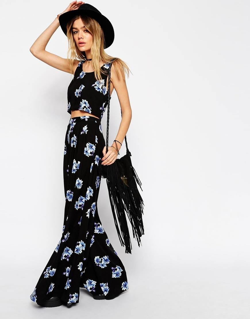 ASOS | ASOS Reclaimed Vintage CO-ORD Wide Leg Trousers In Blue Floral Print at ASOS