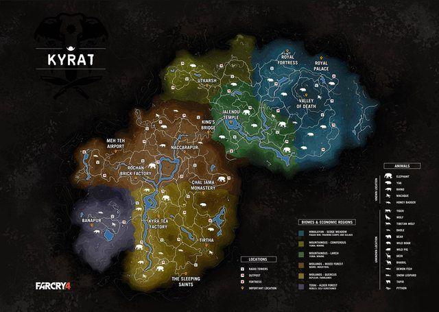 Mapa Far Cry 4 Far Cry 4 Mapa Animais