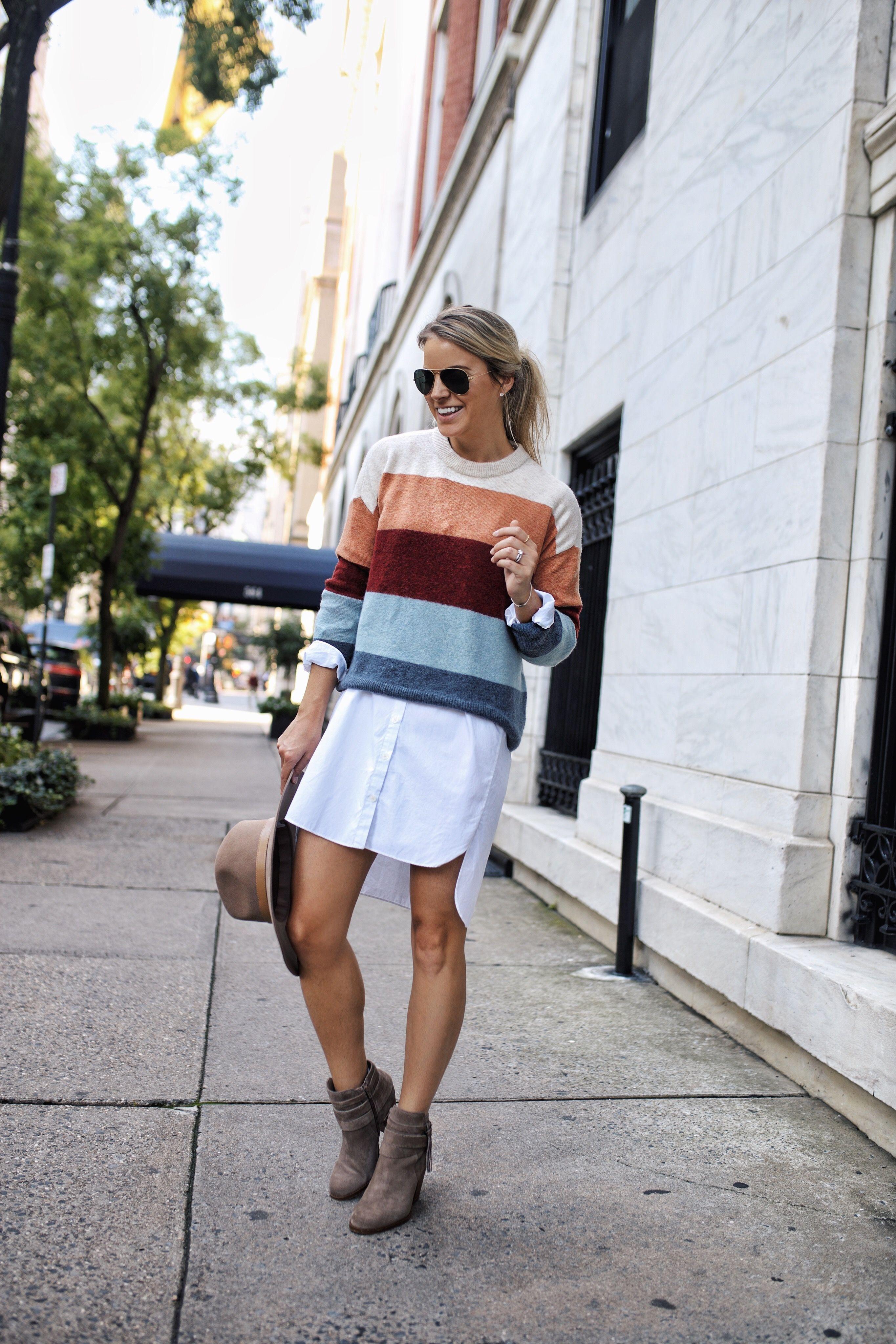 Favorite Stripes Styled Snapshots Shirt Dress Fall Sweater Over Dress Shirt Over Dress [ 4096 x 2730 Pixel ]