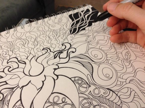 Progress shots of a squiggly doodle drawing sharpie art by Heidi Denney