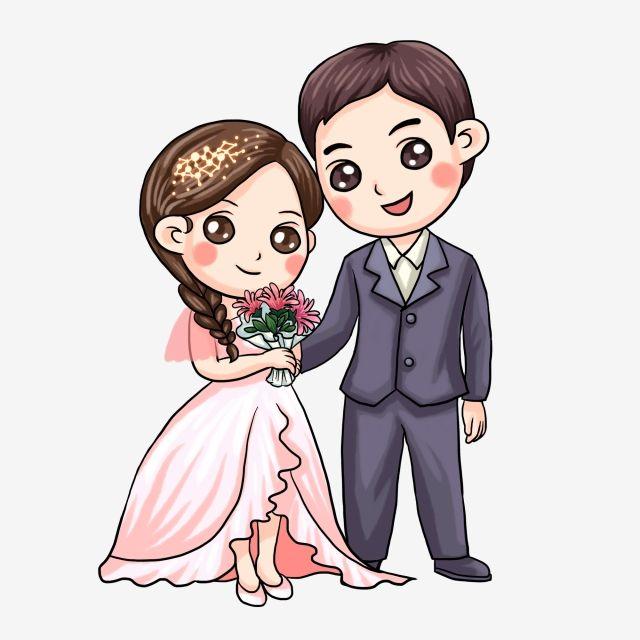 Chinese Style Cartoon Bride And Groom Wedding ...