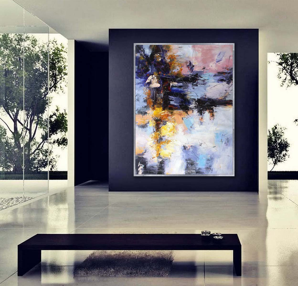 Colorful abstract wall art hand painted modern painting super large
