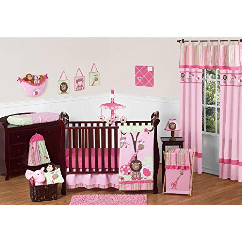 1d2f2b73428b Sweet Jojo Designs 11-Piece Pink and Green Jungle Safari animal ...