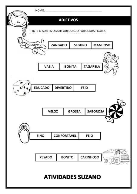Substantivo Adjetivos Atividades Adjetivos Adjetivos