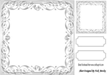 Lovely Silver Scroll Frame, with Topper & Tags 8x8 | Bastelvorlagen ...