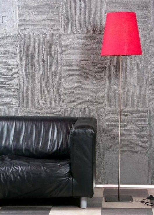 Modernes Wohnzimmer Design Mit Stehlampe Pink Und Ledersofa Schwarz Und  Moderne Wandgestaltung Mit Wandfarbe Grau