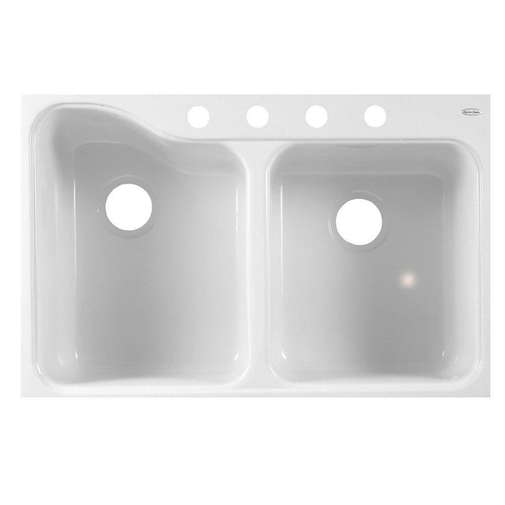 Silhouette tile edge americast 33x22x95 4 hole double bowl kitchen silhouette tile edge americast 33x22x95 4 hole double bowl kitchen sink in white workwithnaturefo
