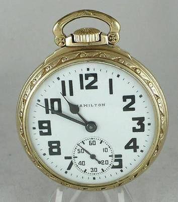 1944 WW2 ERA Hamilton 992B 21 Jewel Railroad Pocket Watch