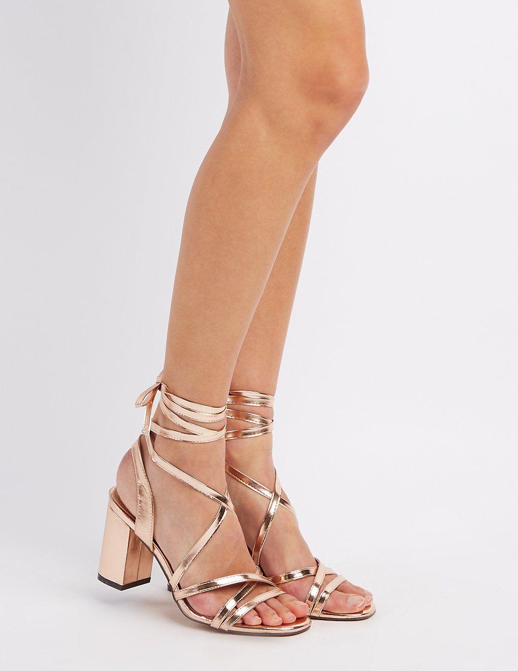 Flat heel sandals images - Lace Up Block Heel Sandals