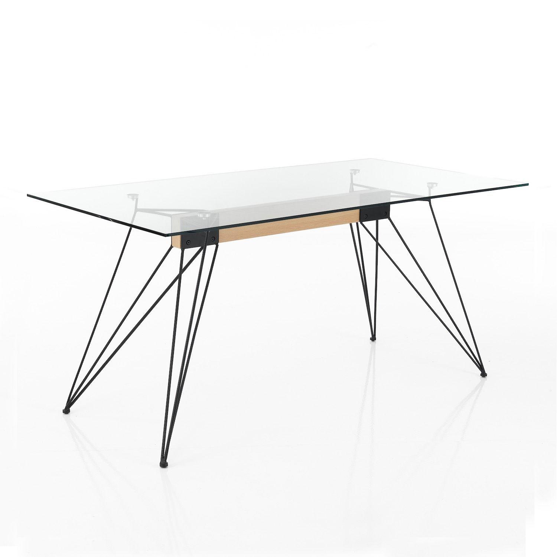 Strutture Per Tavoli Pieghevoli.Scrivania Ufficio In Metallo E Vetro 160 X 85 Cm Vanish