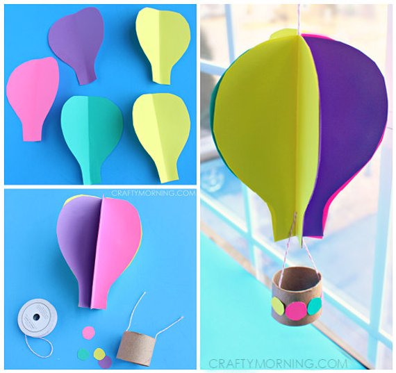 3d Spinning Hot Air Balloon Craft Template Products Crafts For